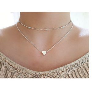 Layered Heart Choker Necklace (Silver)
